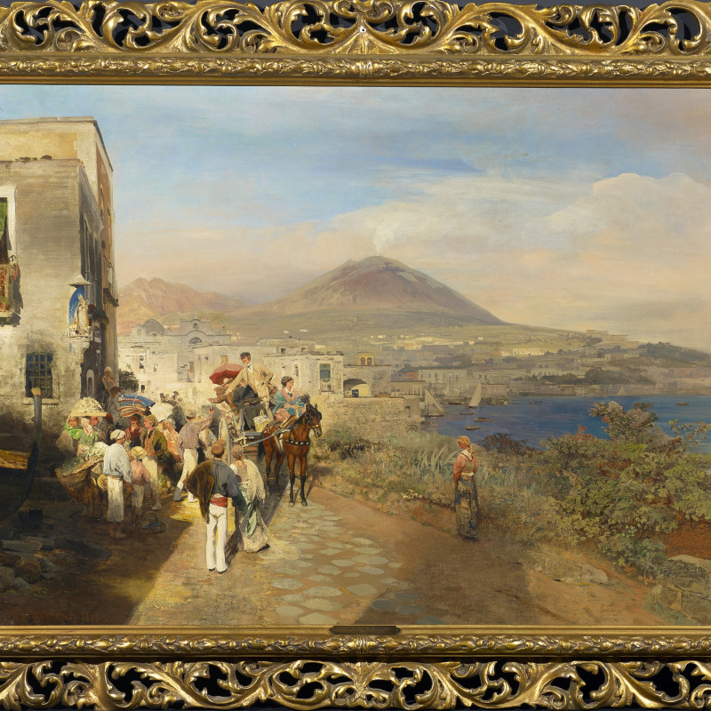 """Oswald Achenbach - """"Travellers at the Golf of Naples"""" by Oswald Achenbach, 1878"""