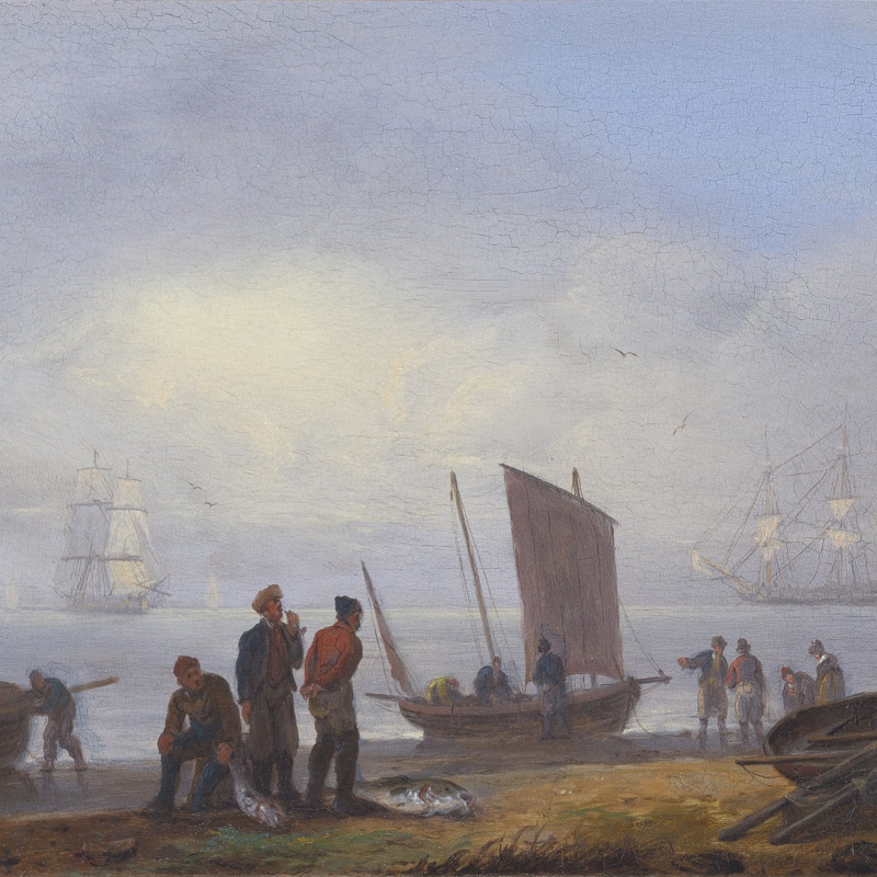 Fishermen unloading their catch on a shore, men-of-war beyond