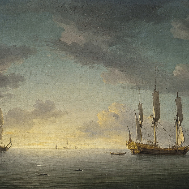 Sunset : the ship rigged royal yacht Royal Caroline in a light air with other