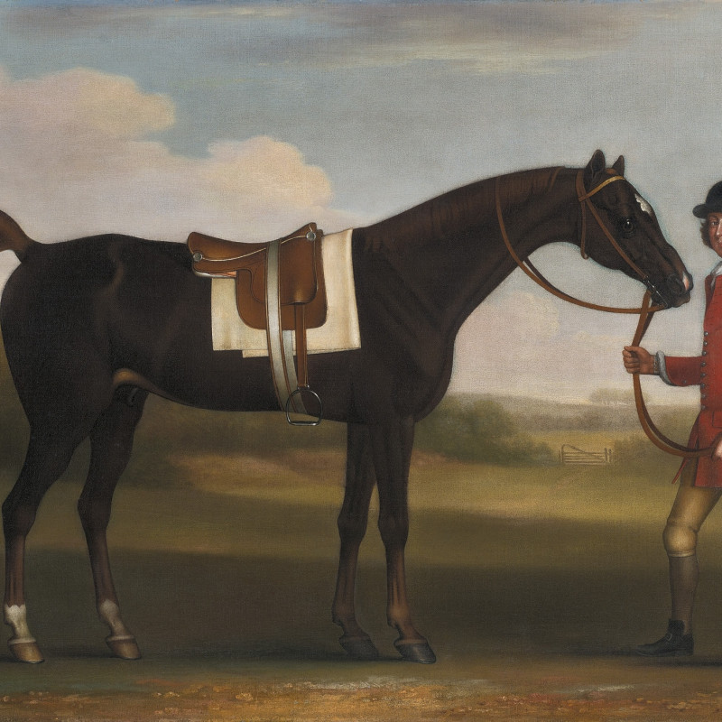 James Seymour, A dark bay horse held by a liveried groom in a landscape