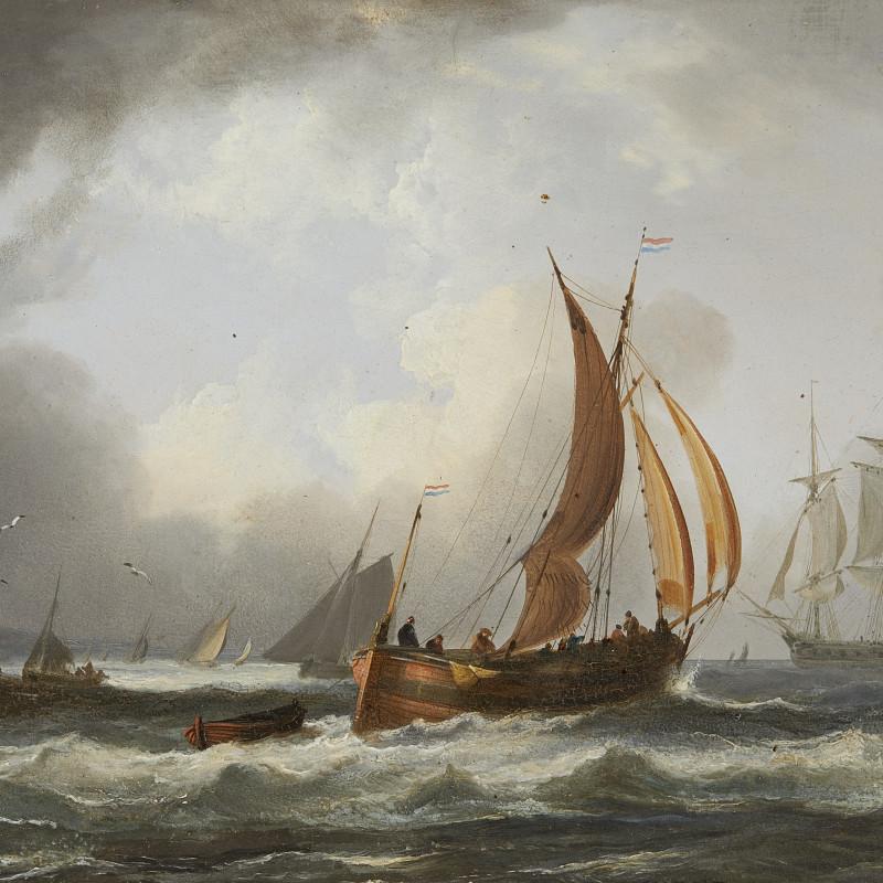 A Dutch fisherman and an American merchantman off the Dutch coast