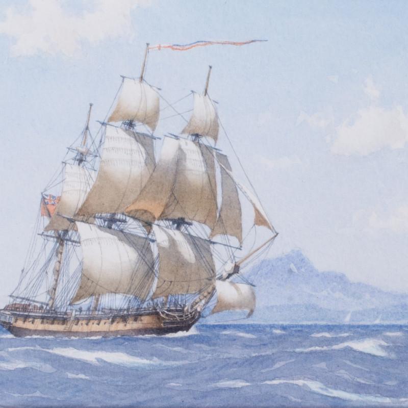 Derek George Montague Gardner, RSMA, Nelson's Boreas off Nevis, Caribbean