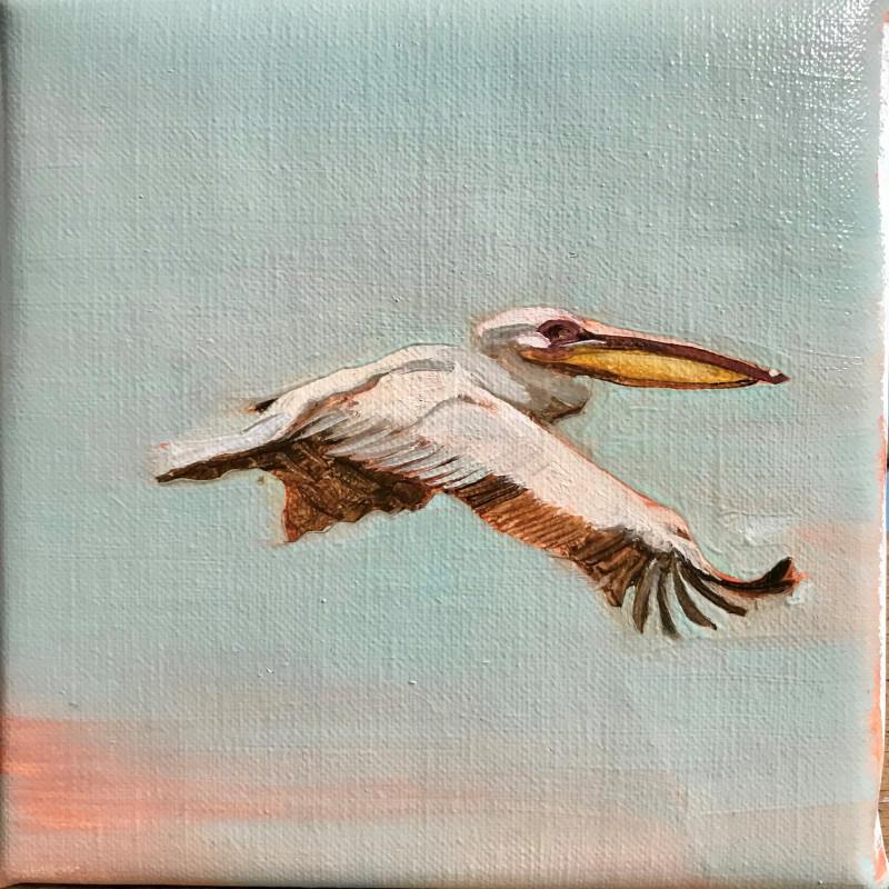 Francesca Sanders, Pelican in flight II, Mahale, Lake Tanganyika