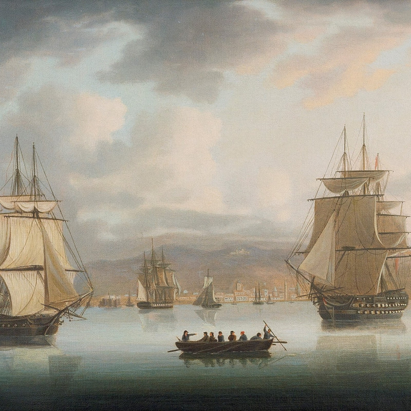 A view of the Funchal roadstead, Madeira, with H.M. ships Blenheim - bearing the flag of Sir Thomas Troubridge - Greyhound and Harrier all becalmed offshore, May 1805