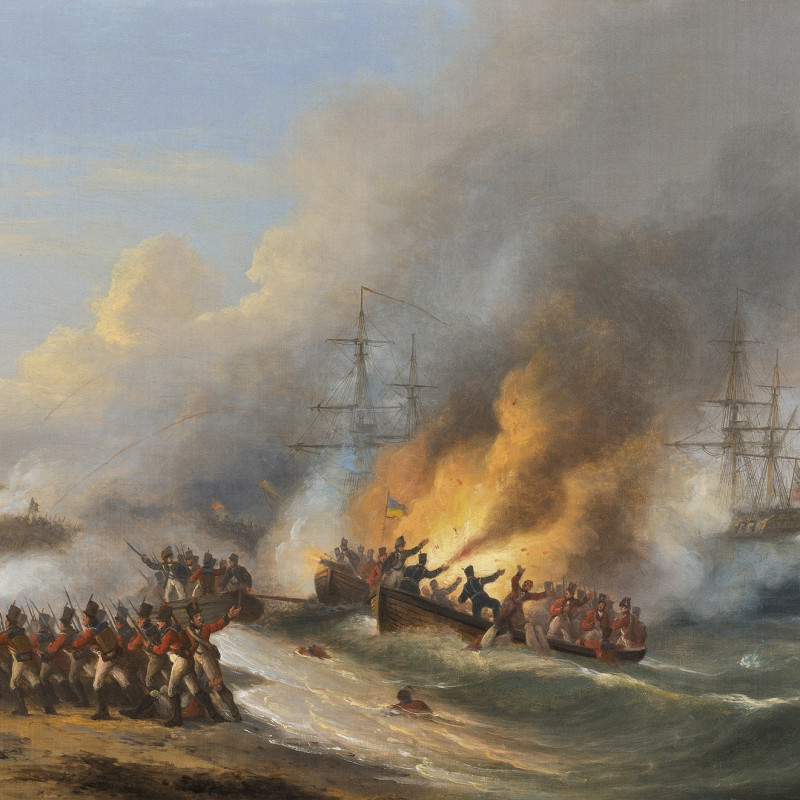 <div class=&#34;artist&#34;><strong>Thomas Luny</strong></div><div class=&#34;title_and_year&#34;><em>Brigade of Guards landing at Aboukir, 8th March 1801</em></div><div class=&#34;signed_and_dated&#34;>signed and dated 'Luny 1827' (lower left)</div><div class=&#34;medium&#34;>oil on canvas</div><div class=&#34;dimensions&#34;>20 x 27 in. (50.8 x 68.5 cm)</div>