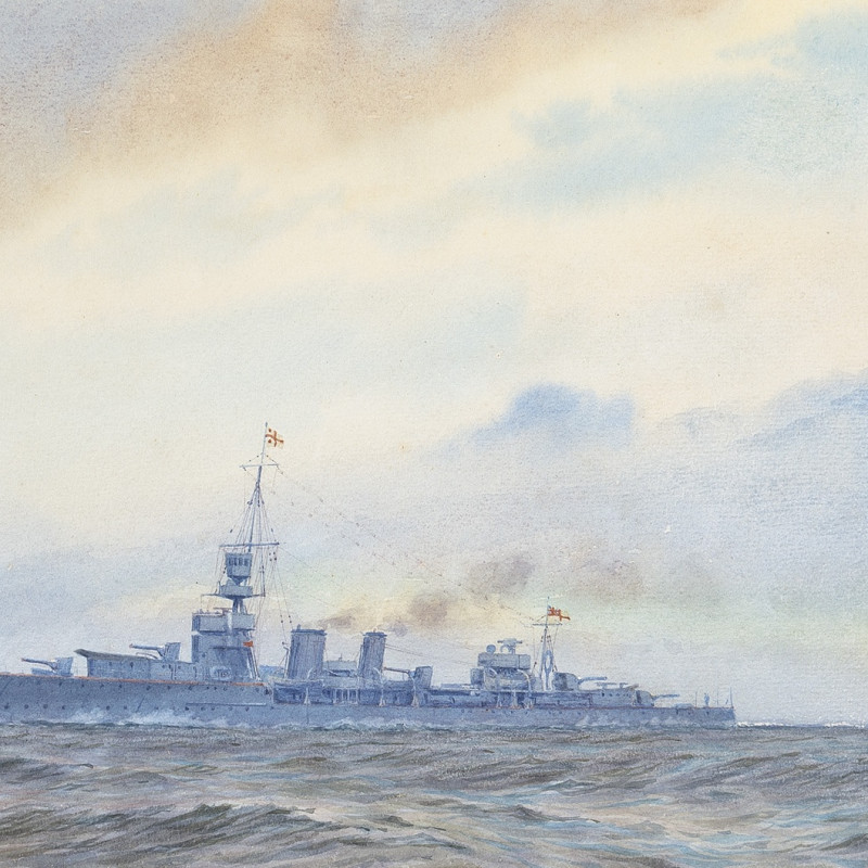 Alma Claude Burton Cull, A 'Ceres' class light cruiser steaming at speed and wearing the command flag of a Rear-Admiral