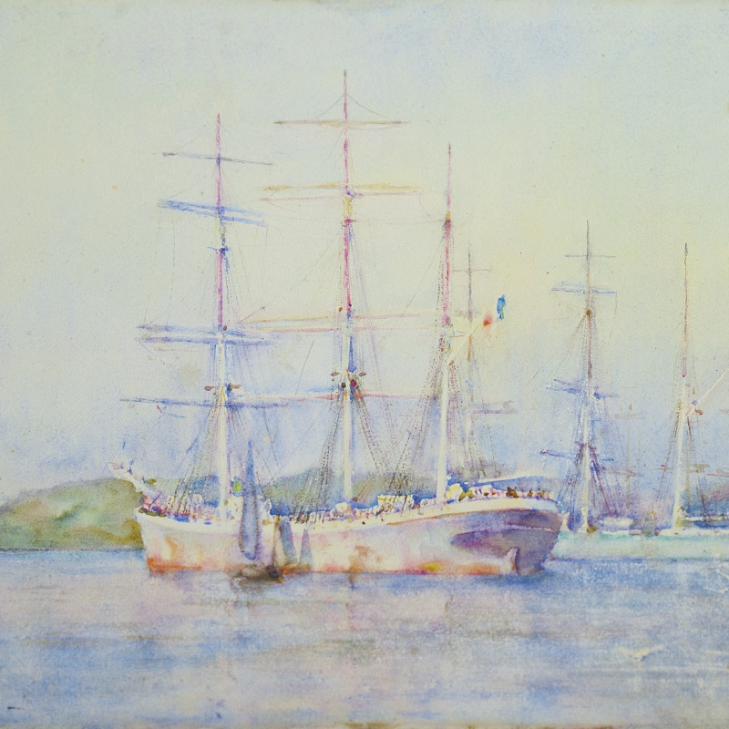 Henry Scott Tuke, RA, RWS, Two French barques at their anchorage in Carrick Roads