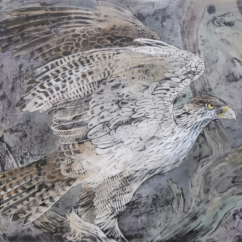 "<div class=""artist""><strong>Emma Faull</strong></div><div class=""title_and_year""><em>Martial eagle</em></div><div class=""medium"">Indian ink and gouache</div><div class=""dimensions"">22¼ x 26¼ in. (56.5 x 66.5 cm)</div>"