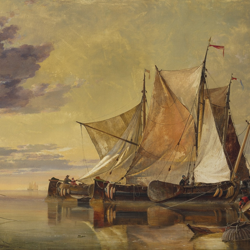 Edward William Cooke, RA, Fishing boats in a calm harbour
