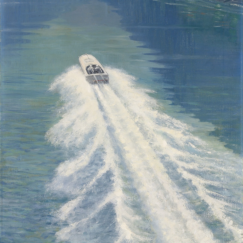 Roy Nockolds, Kaye Don beating Gar Wood's water speed record, on Lake Garda, 1931