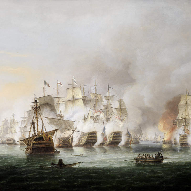 Video of a painting of the Battle of Trafalgar, 1805