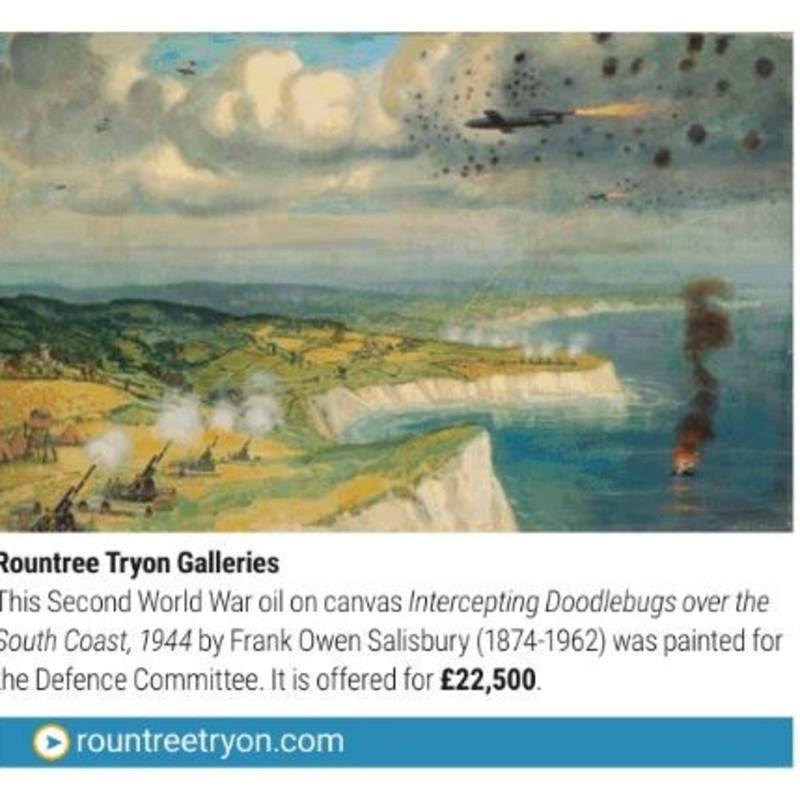 'Intercepting Doodlebugs over the South Coast 1944' by Frank Owen Salisbury (1874-1962)
