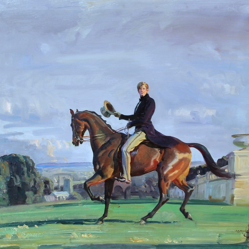 Sir Alfred Munnings 'Portrait of a gentleman on a bay horse'
