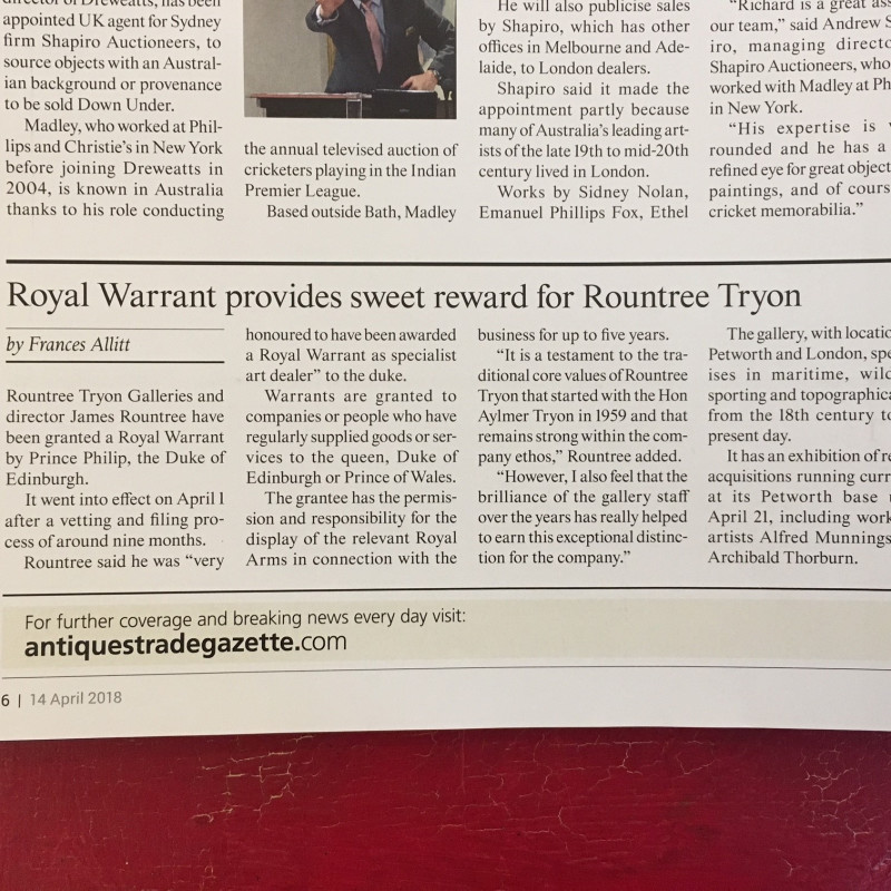 Antiques Trade Gazette: Rountree Tryon granted a Royal Warrant