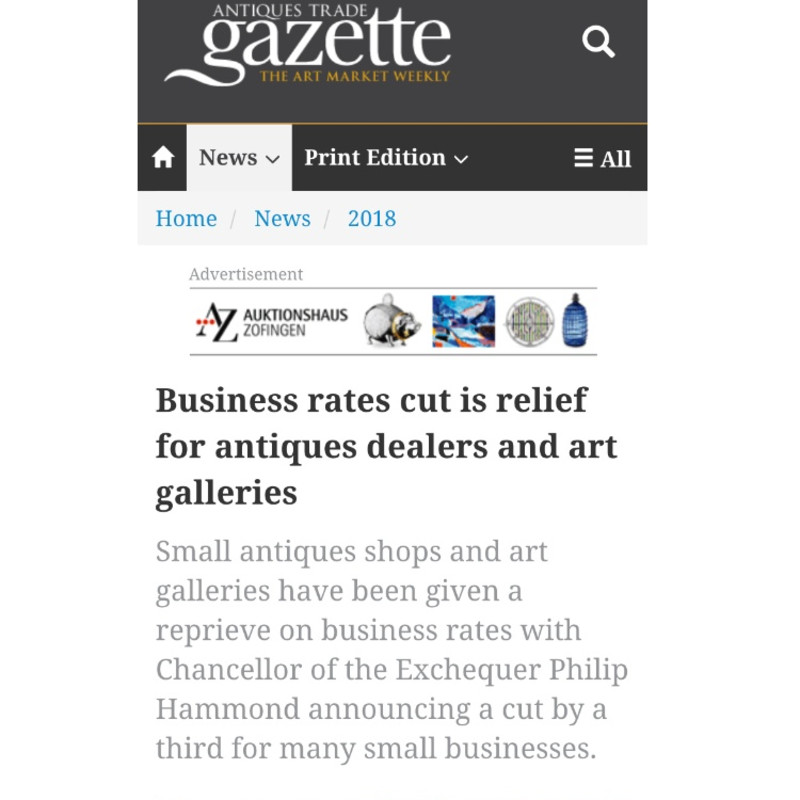 The Antiques Trade Gazette: Business Rates cut relief