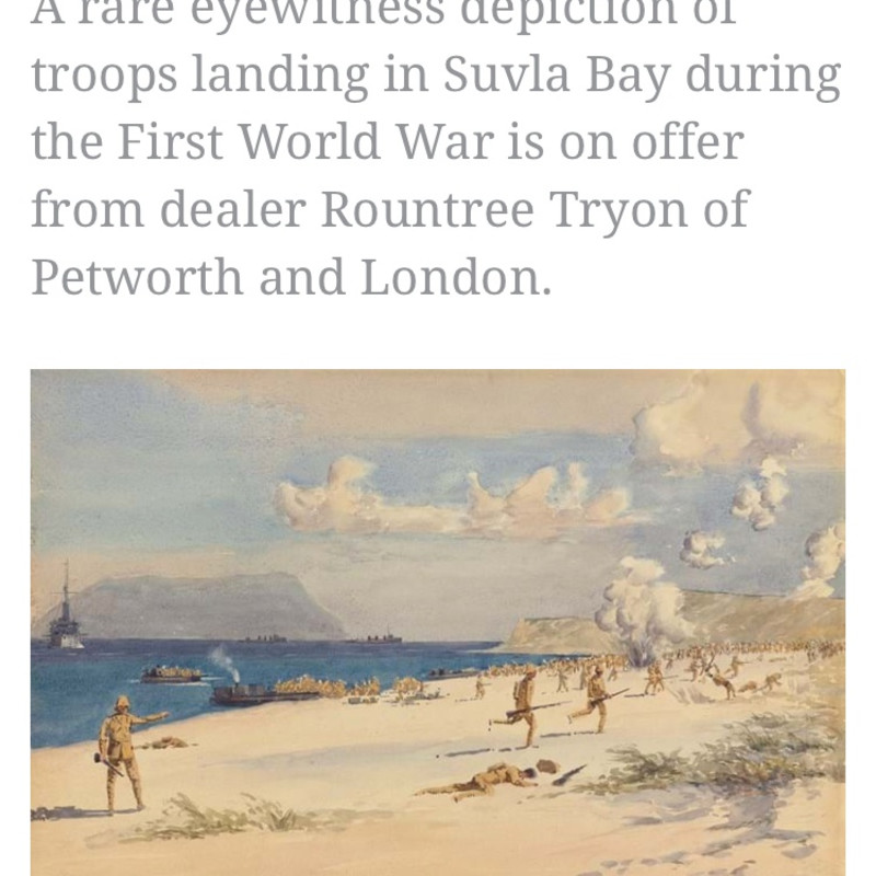 Antiques Trade Gazette: Scene of the Gallipoli Campaign 'rediscovered' in Canada