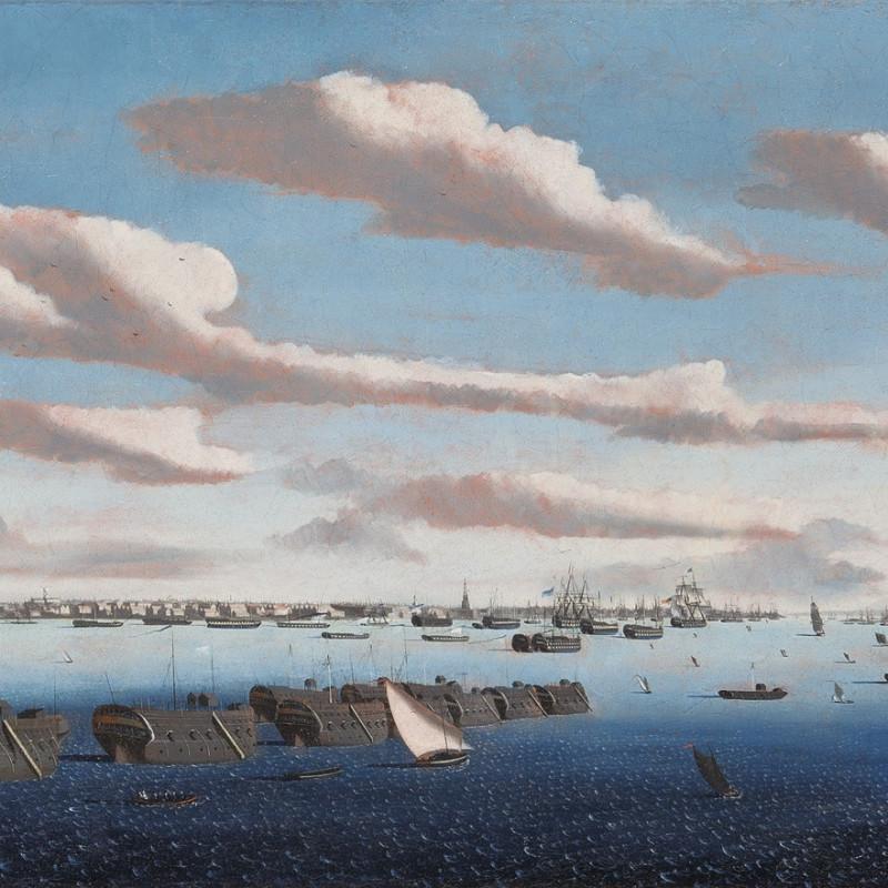 Ambroise Louis Garneray, Noon: prison hulks in Portsmouth Harbour