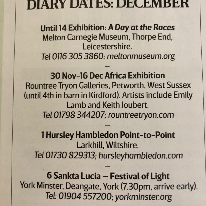 Diary Dates, December 2019