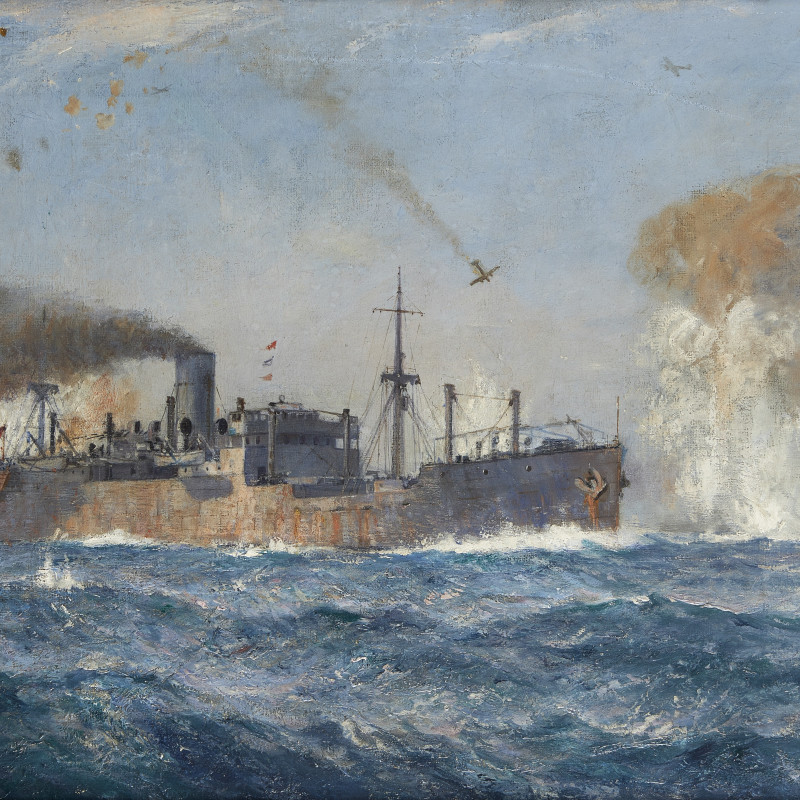 'Convoy under aerial attack during Operation Pedestal, August 1942' Arthur James Wetherall Burgess, R.I., R.O.I., R.B.C., R.S.M.A. (1879-1957)