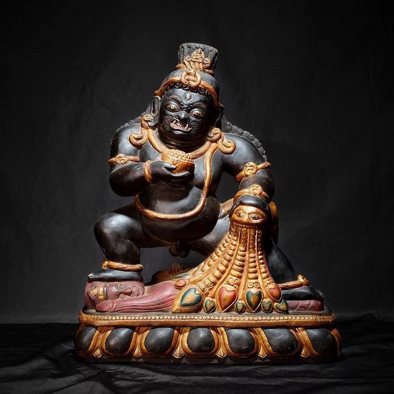 ⿊财神,⽯雕 Black Jambhala, Carved Stone