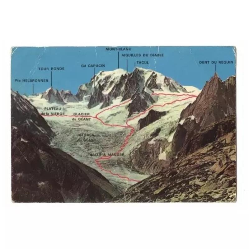 朱岚清 Zhu Lanqing, 明信片2,霞慕尼滑雪地图 Postcard 2 AIGULLE DU MIDI - VALLEE BLANCHE