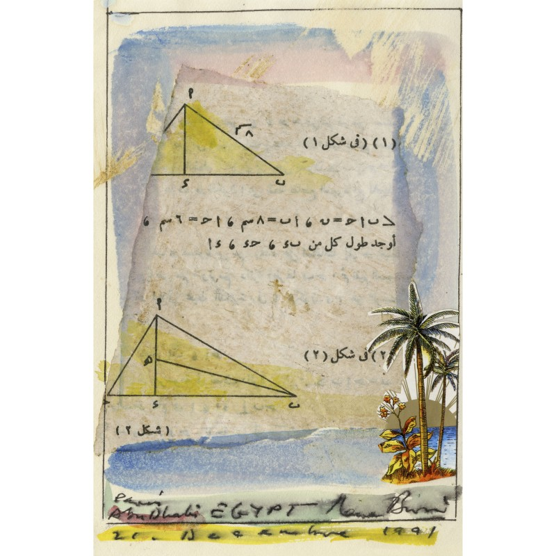 René Burri, Collage and watercolor-Paris Abu Dhabi- Egypt- 21 december 1991, 1991.