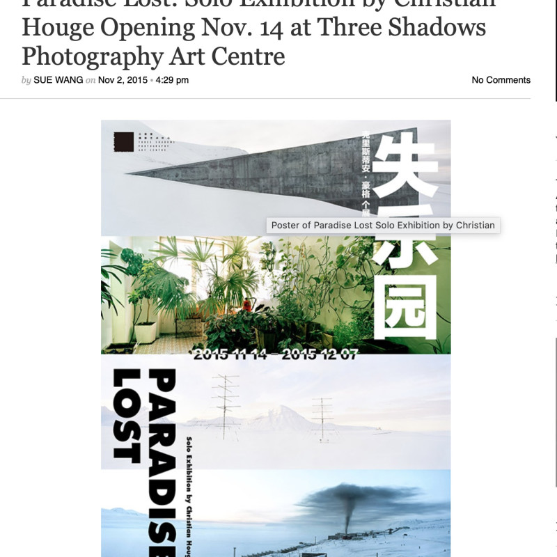 Paradise Lost: Solo Exhibition by Christian Houge Opening Nov. 14 at Three Shadows Photography Art Centre