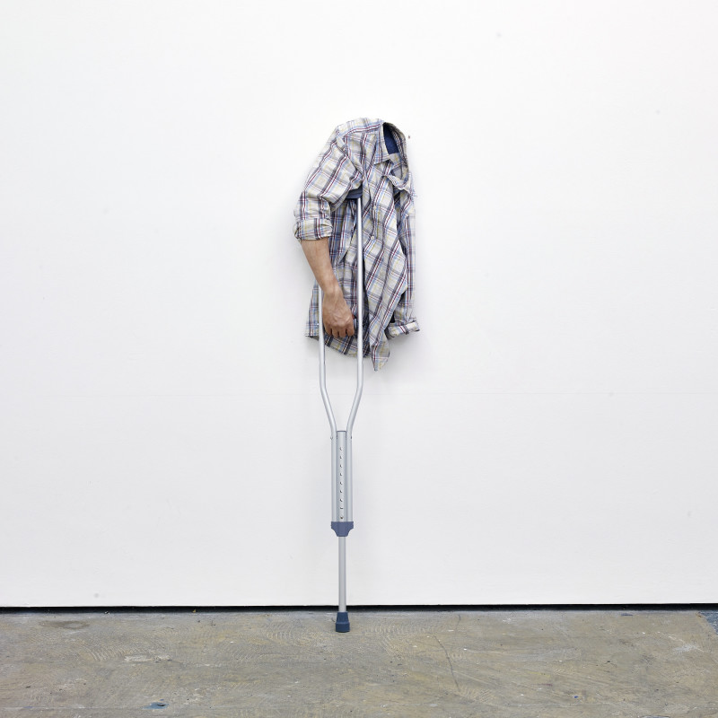 <p><b>Joel Kyack</b><br /><i>The Comeback</i>, 2015<br />Urethane arm, dress shirt, crutch and wire<br />365 x 694 x 21 cm<br />143 3/4 x 273 1/4 x 8 1/4 in<br />(JK0003)</p><p>Courtesy of the artist and Workplace Gallery, UK</p>