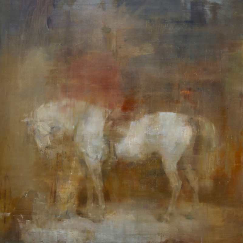 Jake Wood-Evans, White horse in a stable after Sir Edwin Henry Landseer, 2017