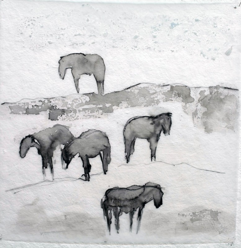 Works on Paper by Theodore Waddell, Condon Horses Dr. #1