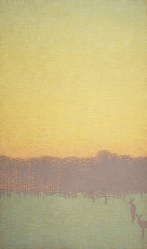 David Grossmann, Two Deer with Yellow Sky
