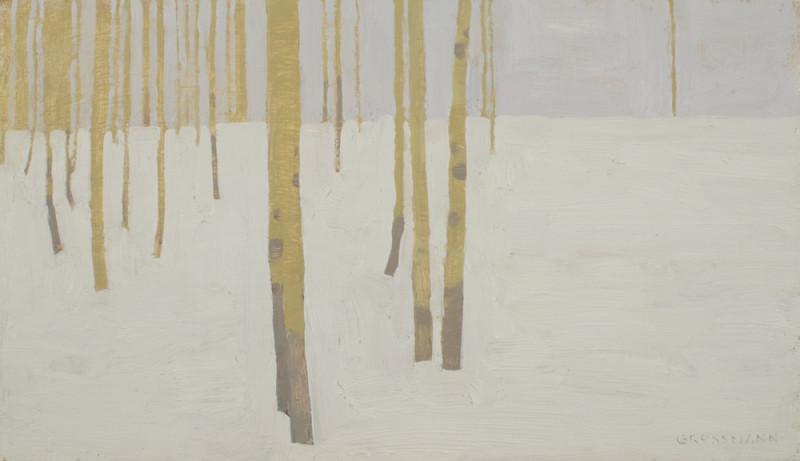 David Grossmann, Aspen Trunk Patterns on Snow and Sky