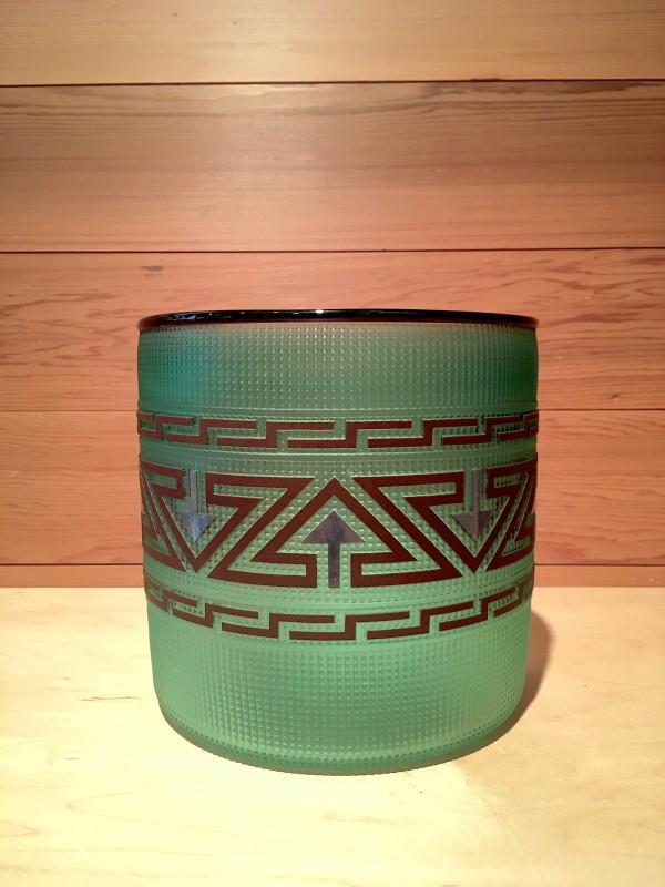 Preston Singletary, Tlingit Shelf Basket: #B17-13 Green/Midnight