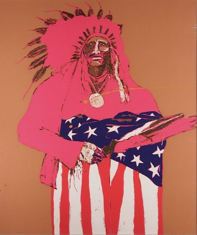 Fritz Scholder, Last Indian With American Flag, 111/150, 1970