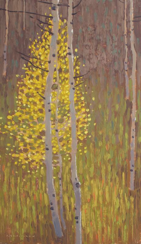 David Grossmann, Bright Aspen Leaves in Morning Light