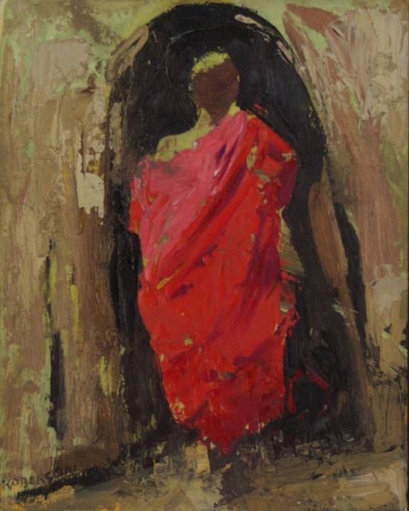 Mary Roberson, Maasai Youth Entering Hut