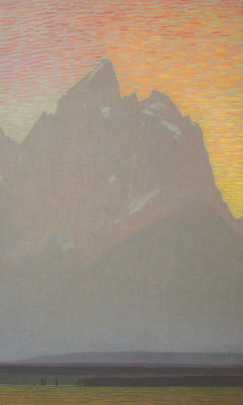 David Grossmann, Grand Teton with Bright Sunset