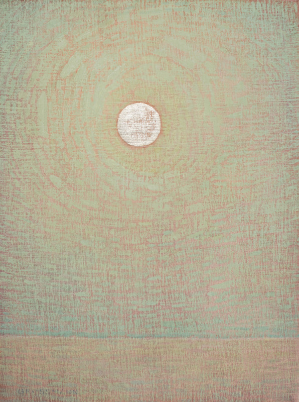 David Grossmann, White Gold Moon and Pale Green Sky