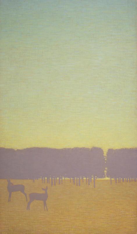 David Grossmann, Two Deer with Green Sky