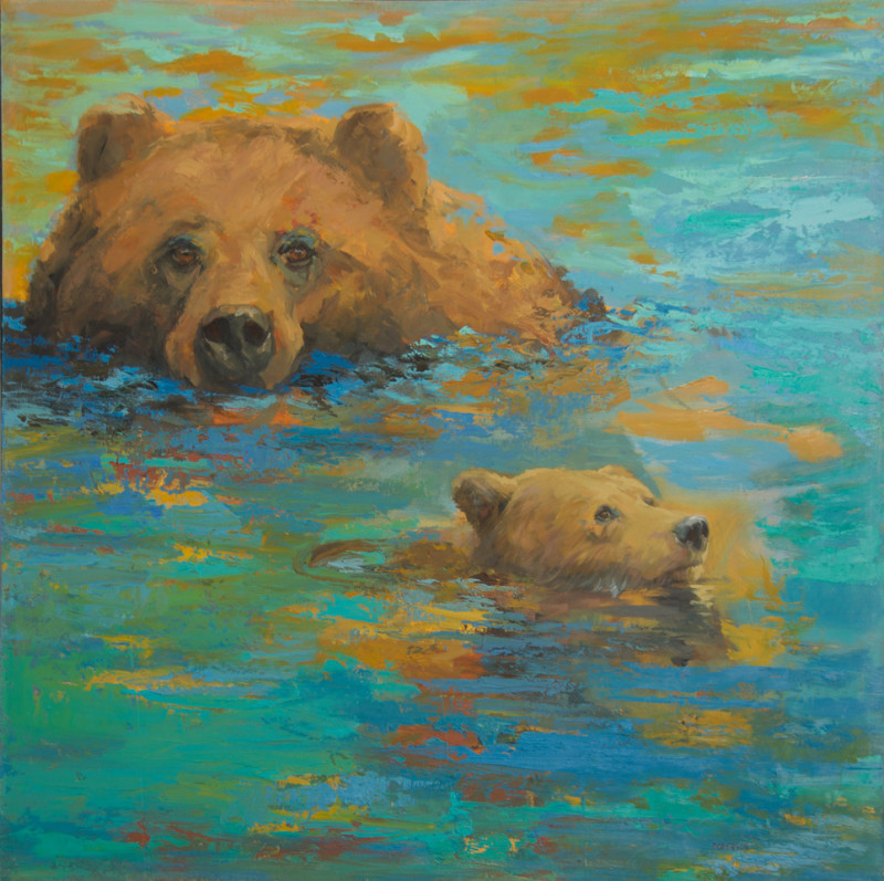 Mary Roberson - Bears in Water