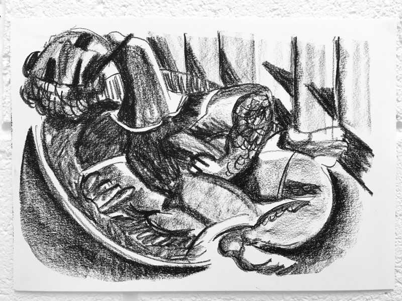 Study for Reclined Figure 2, 2018 Charcoal on paper 29.7 x 42 cm 11 3/4 x 16 1/2 in