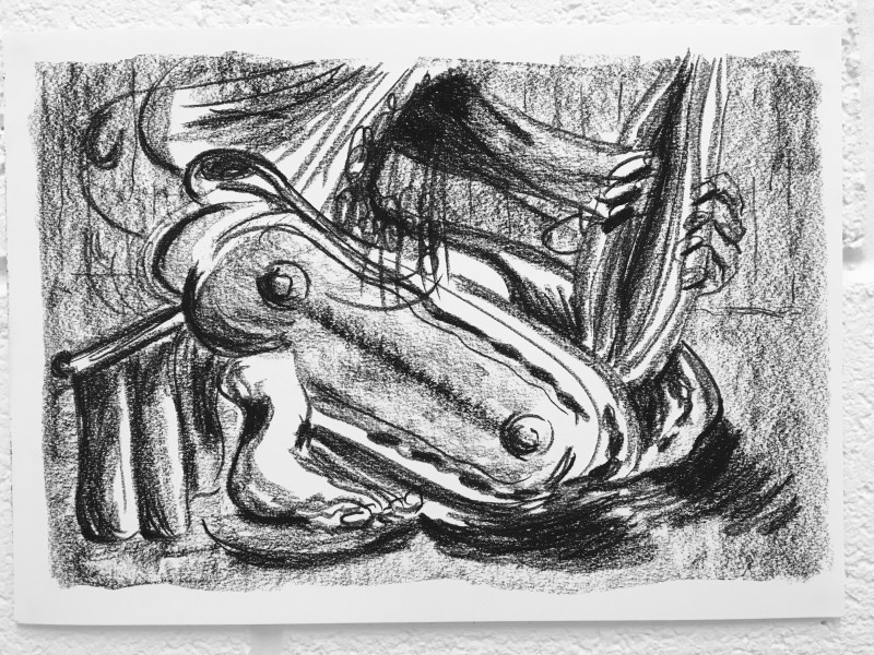Study for Reclined Figure 1, 2018 Charcoal on paper 29.7 x 42 cm 11 3/4 x 16 1/2 in