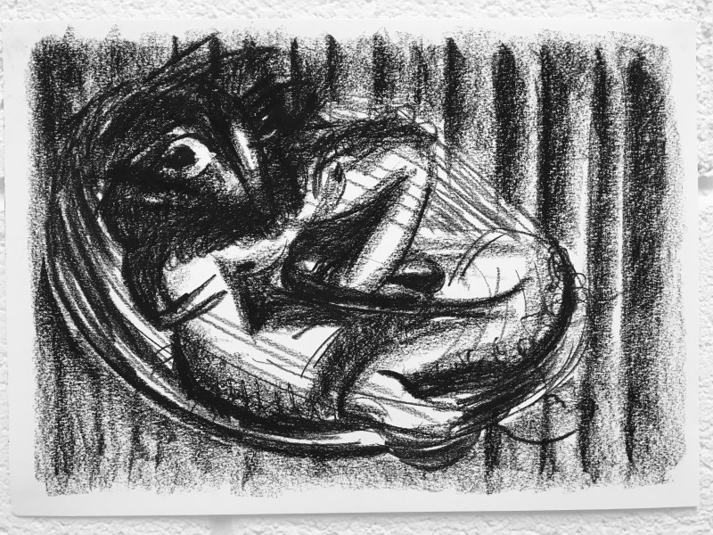 Study for Reclined Figure 4, 2018 Charcoal on paper 29.7 x 42 cm 11 3/4 x 16 1/2 in