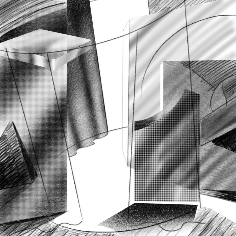 Proscenium, 2016 iPad drawing (pencil, charcoal and spray paint) Dimensions variable Series: Setting the scene