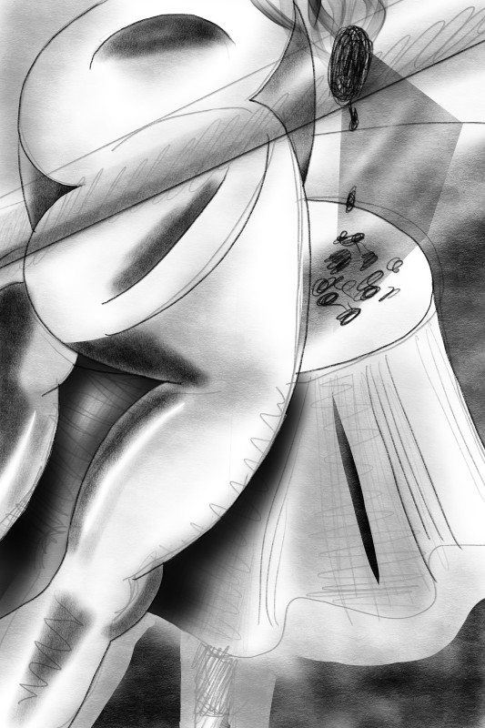 Study for Fag Ash Lilian, 2016 iPad drawing (charcoal, graphite and spray paint) 60 x 40 cm 23 5/8 x 15 3/4 in Series: The exhibitionists
