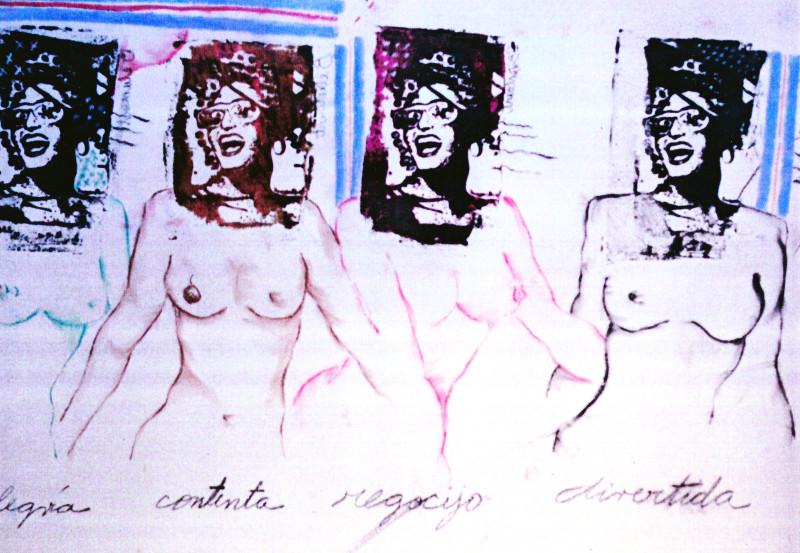 Carlos Betancourt, Imperfect Utopia, ( Tara Solomon, silkscreen on the wall ), 1993