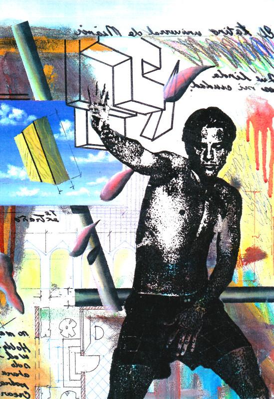 Carlos Betancourt, Autoretrato con Paz Hiperactiva, Fracturism IV, 1993