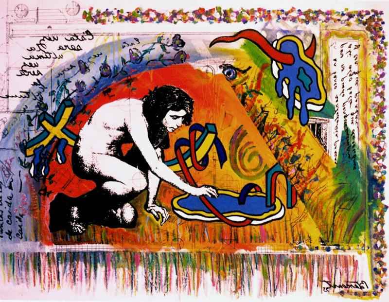 Carlos Betancourt, Autoretrato con Paz Hiperactiva, Fracturism V, 1993