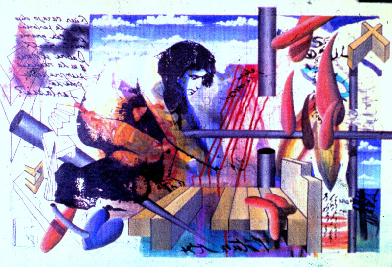 Carlos Betancourt, Autoretrato con Paz Hiperactiva, Fracturism II, 1993