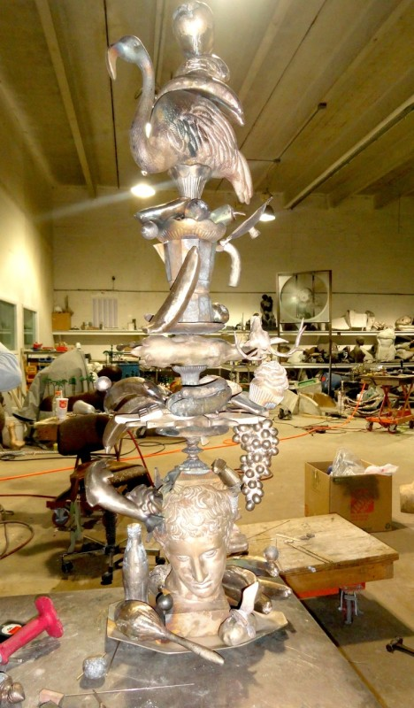 Carlos Betancourt in collaboration with Alberto Latorre, (Image prior to patina application) Totem Atomic, Bronze, 2011